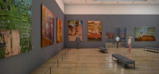 Interieur van een fictief museum met aan de muur meer dan levensgrote foto's van roestige scheepsrompen