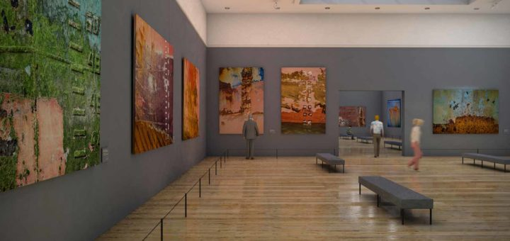 Interior of a fictional museum with large photos of rusty schip's hulls on exhibition
