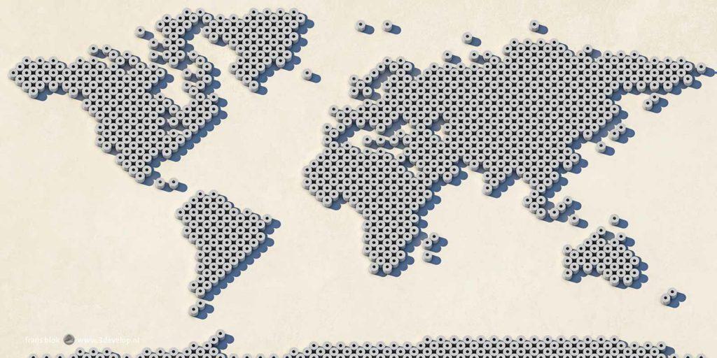 Wereldkaart opgebouwd uit digitale wc-rollen, gemaakt tijdens de eerste golf van de covid-19-pandemie