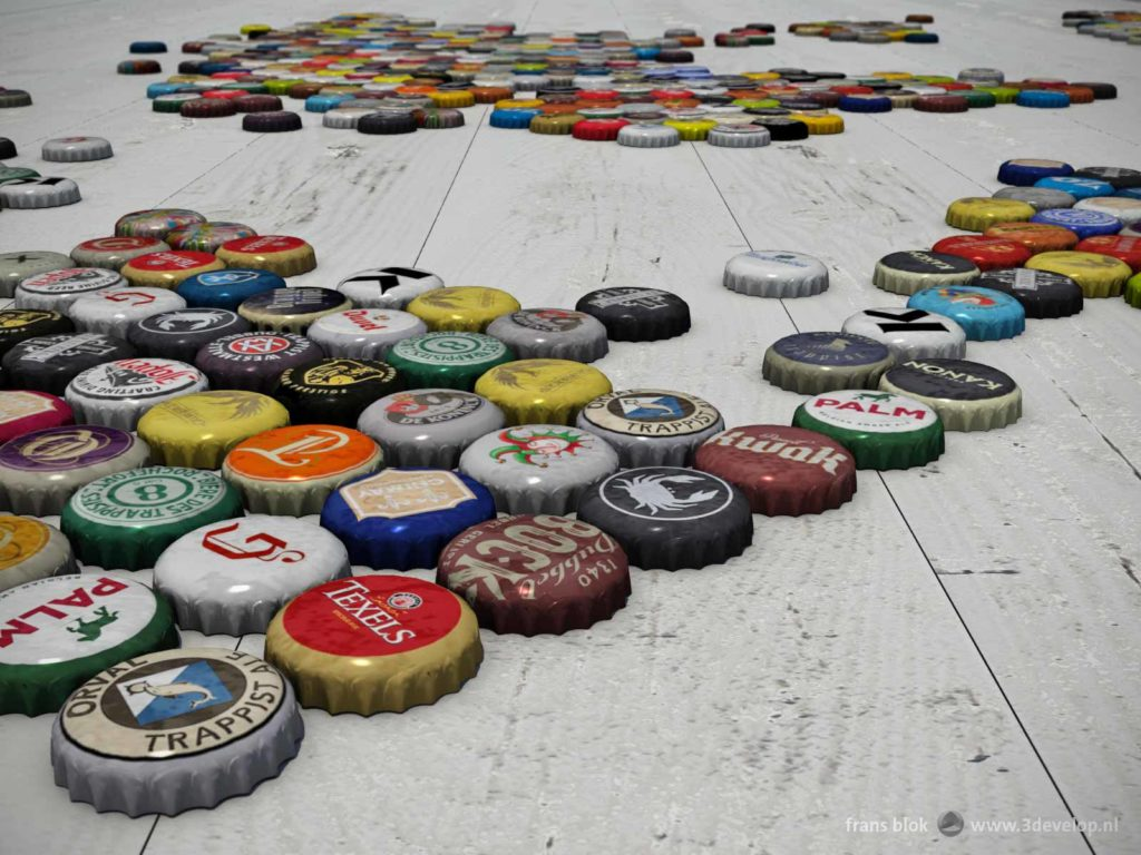 Close-up of a large number of bottle caps of Belgian and Dutch beers on a white wooden floor, together making a world map