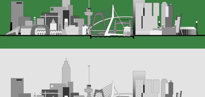 Een grafische weergave van de skyline van Rotterdam met alle belangrijke gebouwen, bruggen en andere iconen, in vier verschillende kleurstellingen