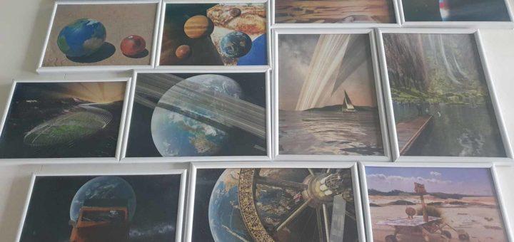 Dertien stuks space art door Frans Blok, ingelijst en klaar voor de tentoonstelling