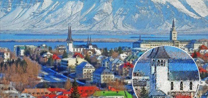 Blick von der Perlan-Aussichtsplattform auf dem Öskjuhlíð-Hügel über die isländische Hauptstadt Reykjavik, das Meer und die schneebedeckten Berge