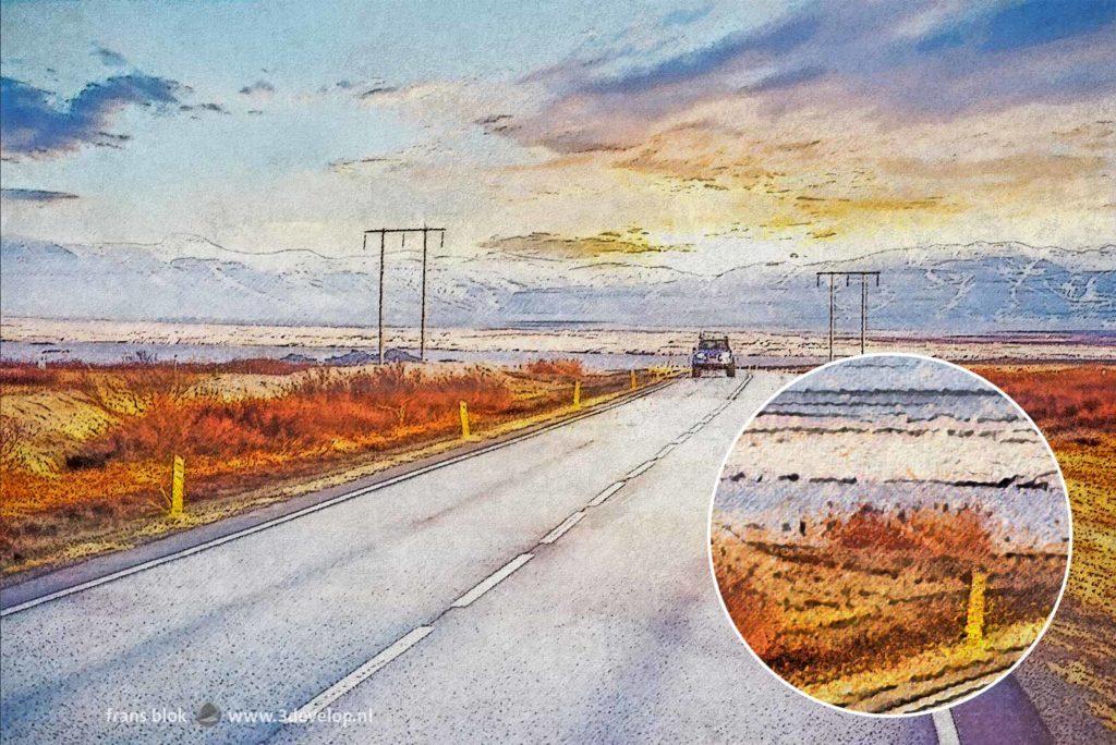 Impressionistisch digitaal schilderij van de IJslandse ringweg tussen Reykjavik en Borgarnes