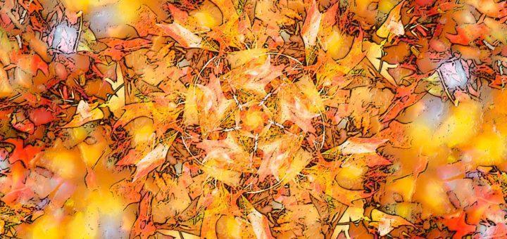 The Wind's Five Quarters, ein farbenfrohes kaleidoskopisches Bild, das durch fünfmaliges Kopieren, Drehen und Mischen eines Fotos von Eichenblättern an einem sonnigen Herbsttag erstellt wurde