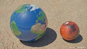 Scale comparison of Earth and Mars as two beach balls