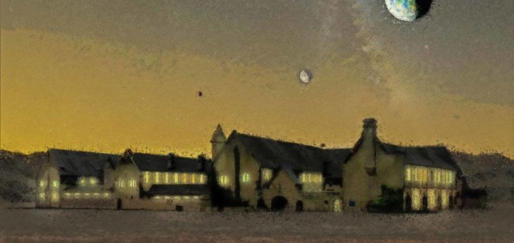Impressionist sketch of a fictional abbey on the dark side of one of the planets around the ultra cool dwarf star TRAPPIST-1