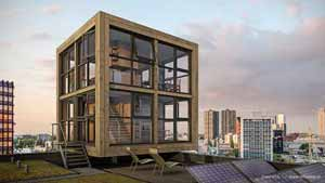 Artist impression of Blok's Block, a tiny house XL, on top of a tall building in Rotterdam