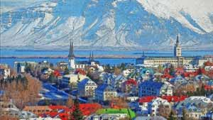 Impressionist digital painting of the city of Reykjavik, Iceland with behind in the ocean and the snowy mountains