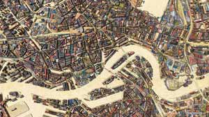 Map of Rotterdam made of virtual scrapwood on plywood