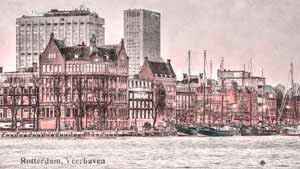 Photograph of Veerhaven marina in Rotterdam the Netherlands with the Erasmus medical center in the background, artificially aged in Photoshop
