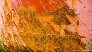 Kleurrijke scheepsromp met roest, lasnaden, krassen, afbladderende verf en algen