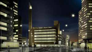 Artist impression of the old Bijenkorf department store by architect W.M. Dudok, reconstructed at its original location in Rotterdam
