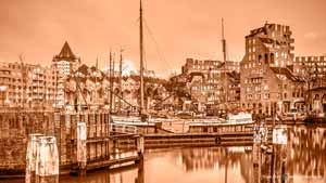Monochrome photograph in sepia of the Old Harbour and the cube houses in Rotterdam, The Netherlands