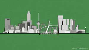 Graphical image of the Rotterdam skyline against a green background