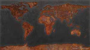 World map of rust stains on a grey ship's hull