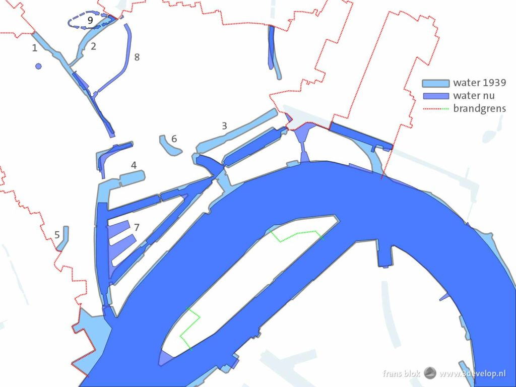 Comparing the pre-war and post-war rivers and canals in Rotterdam inside the destruction zone of the 1940 bombing