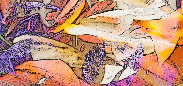 Detail van een digitaal botanisch kunstwerk, getiteld Hocus Crocus, gebaseerd op een foto van krokussen in het voorjaar