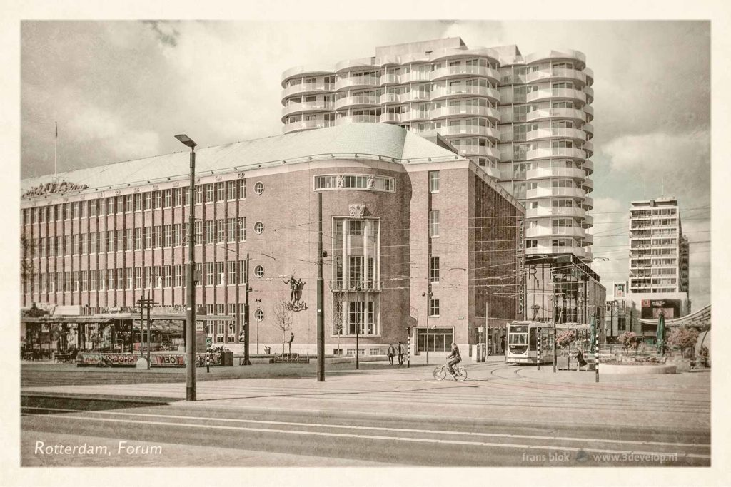 Artificially aged vintage postcard in style of the 1950's, with Coolsingel boulvard, Koopgoot shopping mall and Forum Rotterdam