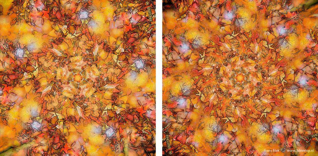 Twee varianten op een digitaal botanisch kunstwerk, genaamd The Wind's Five Quarters, waarvan er een eigenlijk The Wind's Seven Quarters zou moeten heten