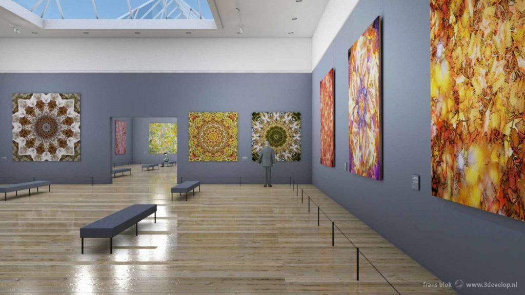 Artist impression van een fictief museum met grote kleurrijke geometrische botanische kunstwerken aan de muur